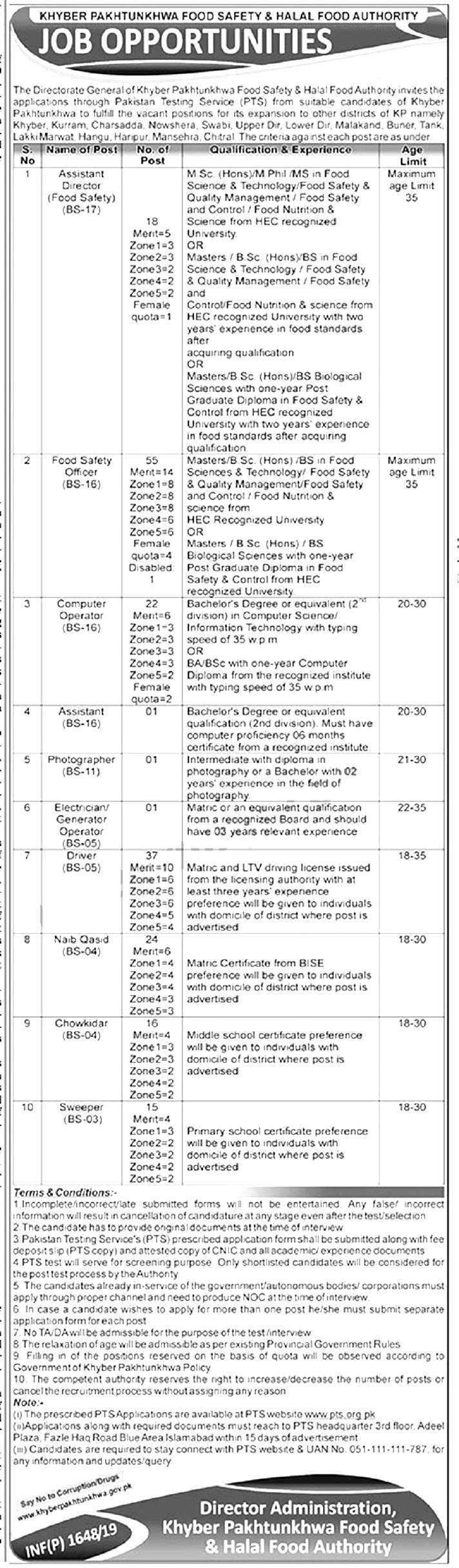 KPK Food Safety & Halal Food Authority PTS Jobs 2019 Application