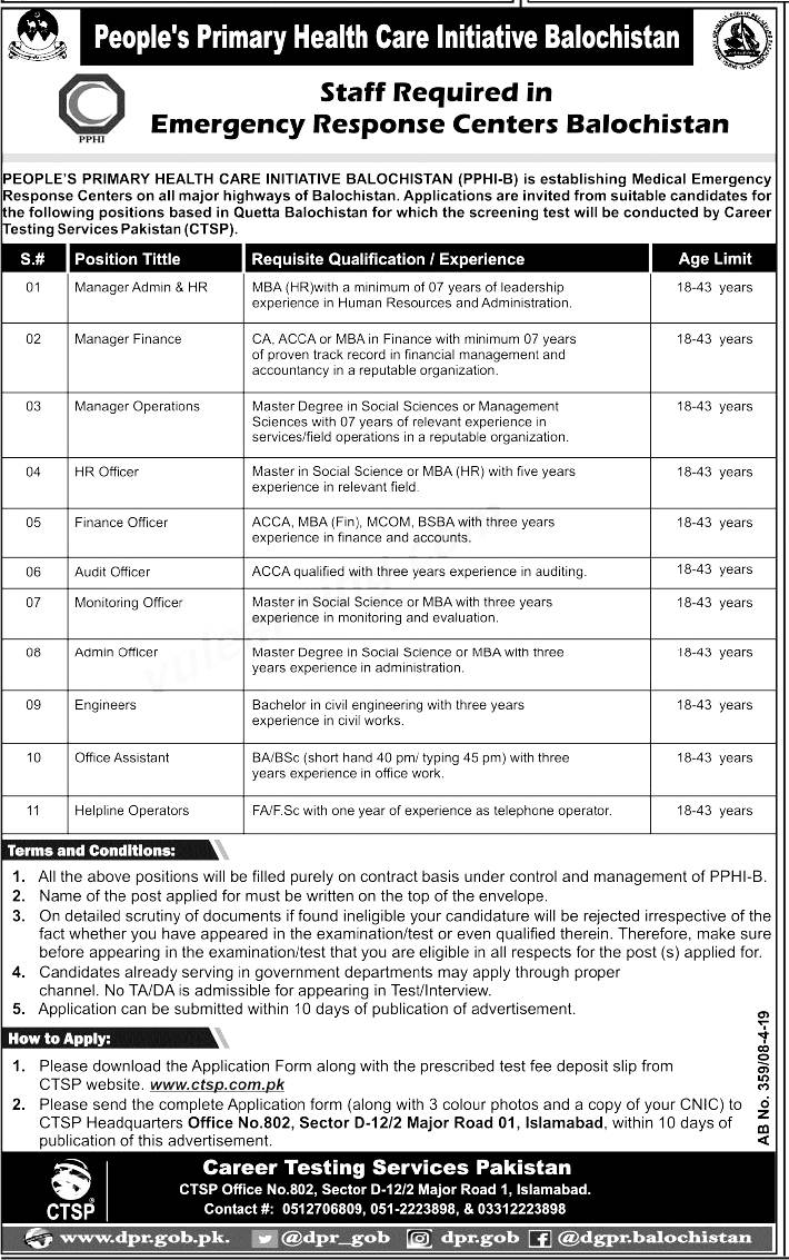 Peoples Primary Healthcare Initiative Balochistan Jobs 2019 CTSP Application Form