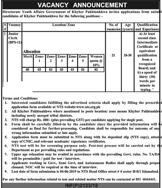 KPK Directorate Youth Affairs Junior Clerk NTS Jobs 2019 Application Form Roll No Slips