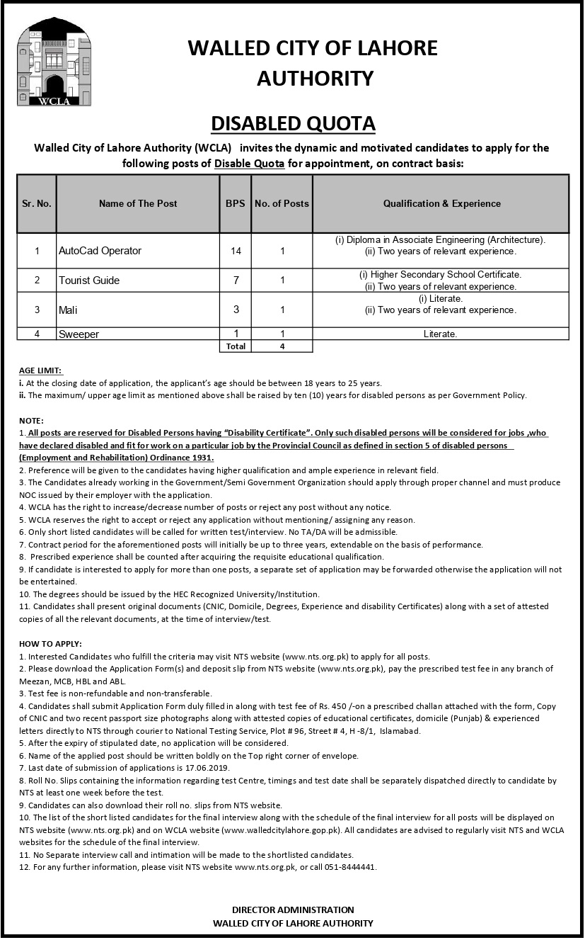 NTS Walled City Lahore Authority Jobs 2019 Registration online