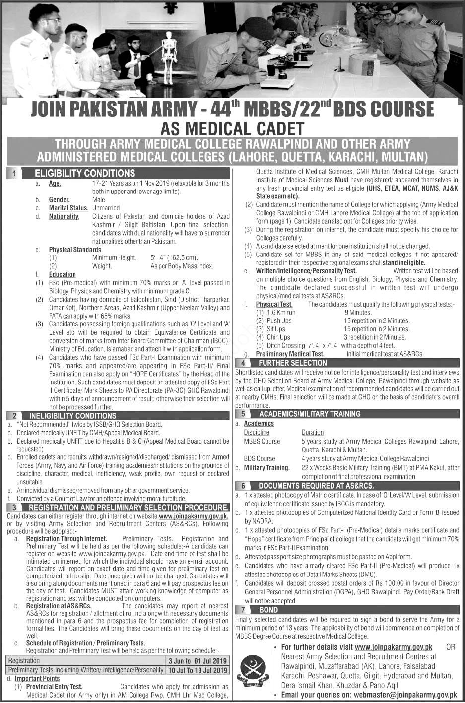Join Pakistan Army as MBS & BDS Doctor as Commissioned Officer 2019