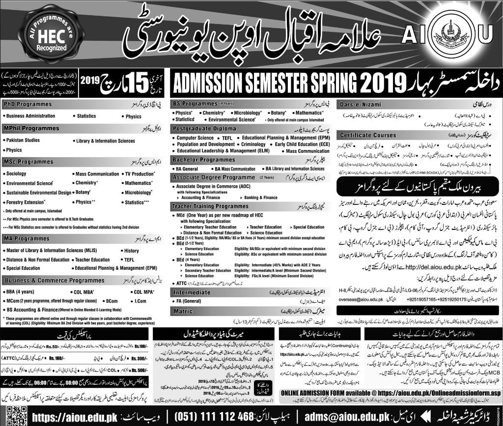 AIOU Admission 2019 Spring For Matric Inter BA MA Apply Online