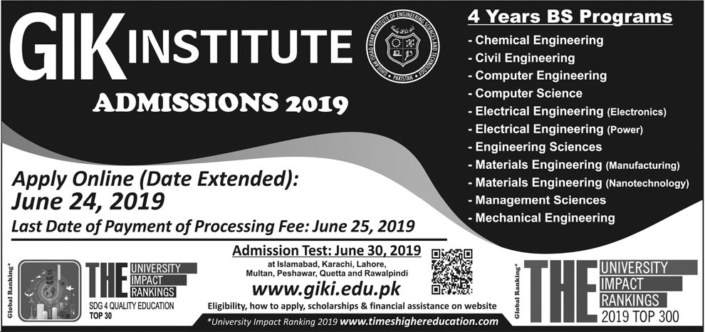 GIKI University BS Programs Admission 2019 Apply Online Test Schedule