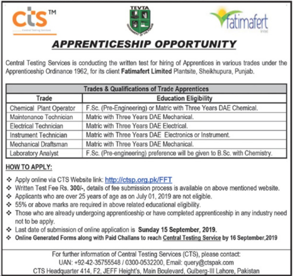 Fatimafert Limited CTSP Apprenticeship 2019 Apply Online