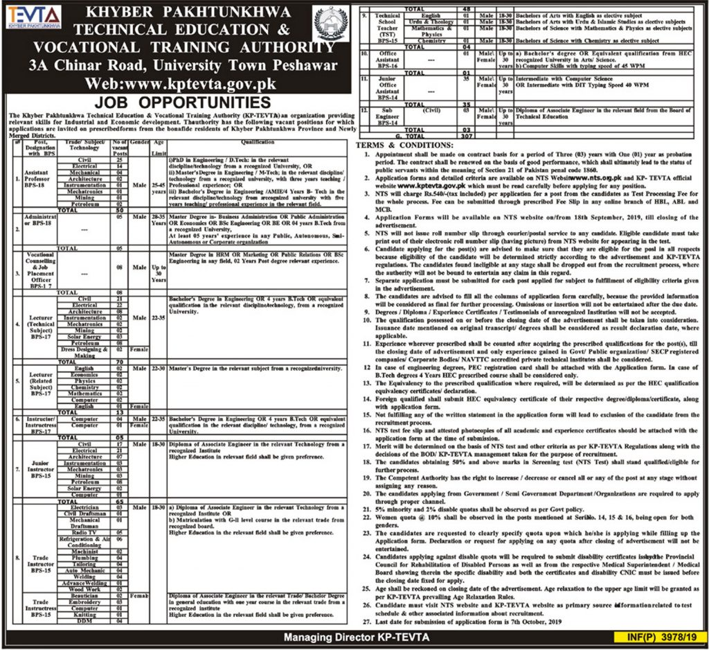 KPK TEVTA Jobs 2019 NTS Application Form Roll No Slips