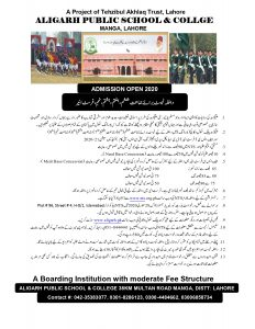 Aligarh Public School & College Lahore Admission 2020 NTS Application Form