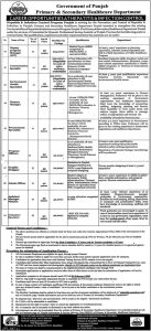 Punjab Primary & Secondary Healthcare NTS Jobs 2020 Apply Online