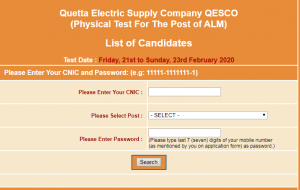 QESCO Jobs NTS Physical Test For ALM Roll Number Slip 2020 Download Online