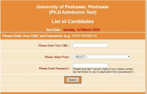 University of Peshawar PhD Admission NTS Test Roll No Slip 2020