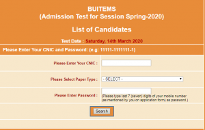 BUITEMS Spring Admission 2020 NTS Roll Number Slips