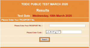 TOEIC Public NTS Test Result 2020 Online 18 March
