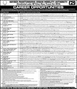 KPK Urban Mobility Authority ETEA Jobs 2020 Apply Online