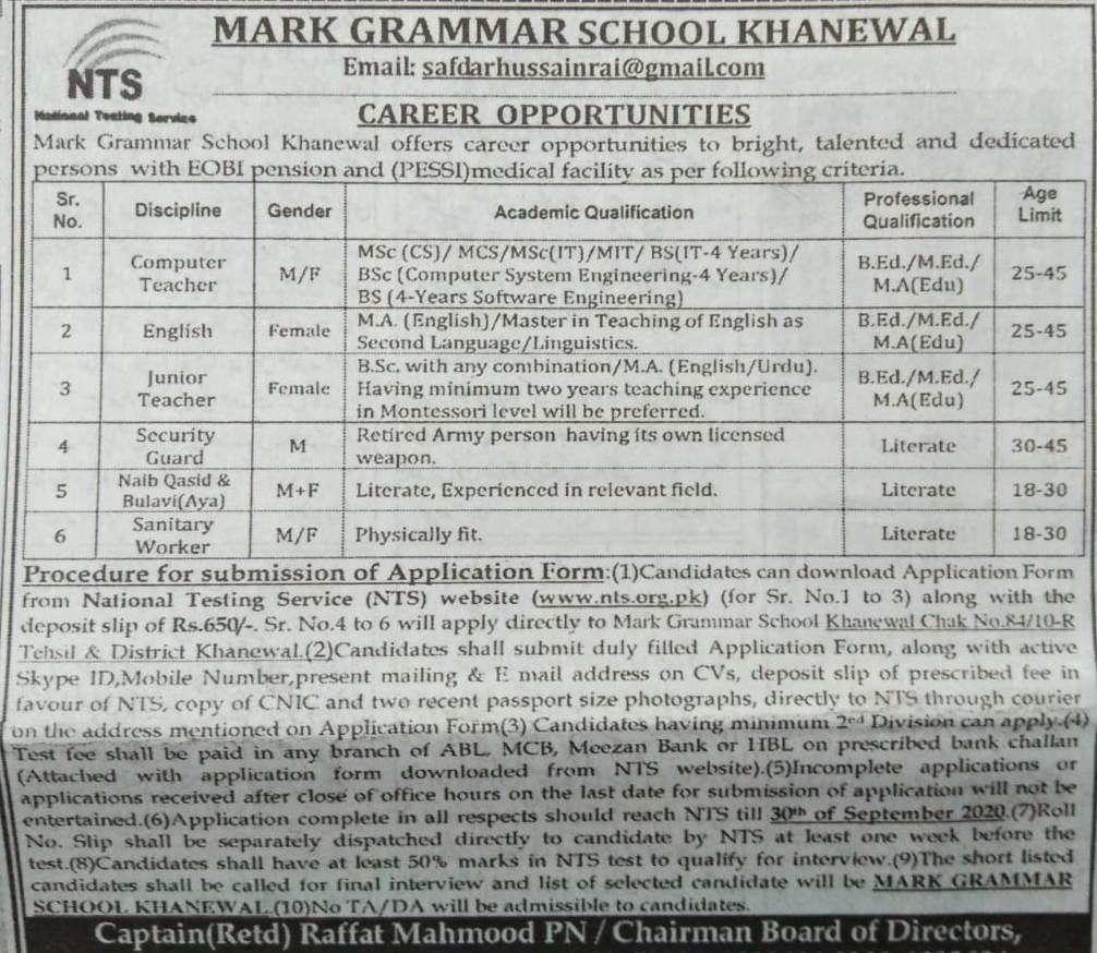 Mark Grammar School Khanewal NTS Teacher Jobs 2020 Apply Online
