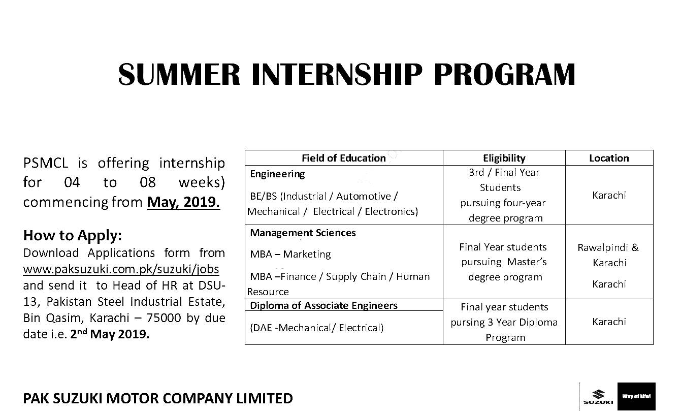 Pak Suzuki Summer Internships Program 2019 Apply Online Eligibility Criteria