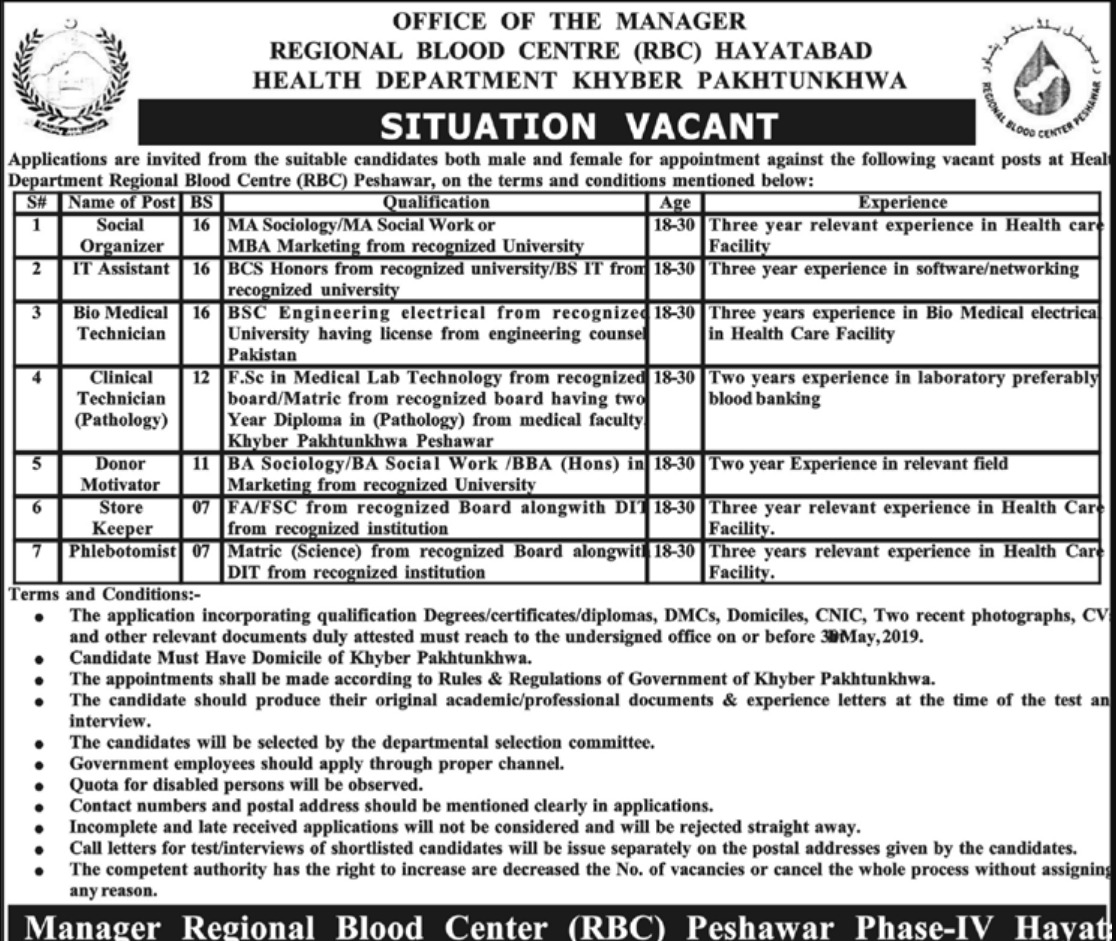 KPK Health Department RBC Hayatabad Jobs 2020 Application ...