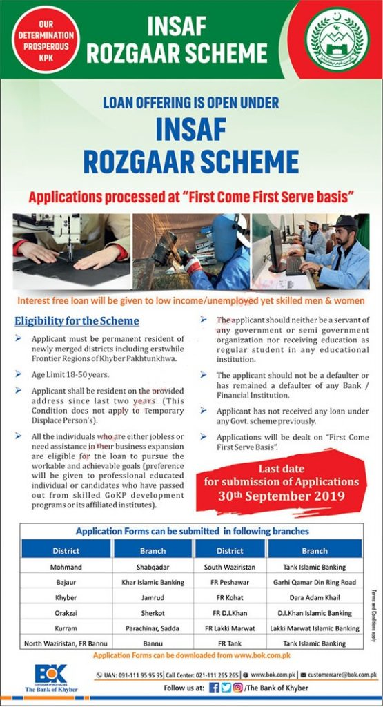 Insaf Rozgar Scheme KPK 2019 Application Form Eligibility Criteria