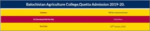 Balochistan Agriculture College Admission CTSP Test Roll No Slip 2021