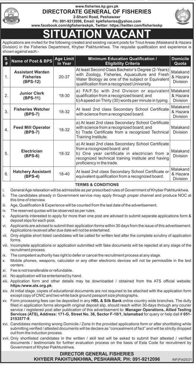 KPK Fisheries Department ATS Jobs 2021 Application Form Roll No Slips Download