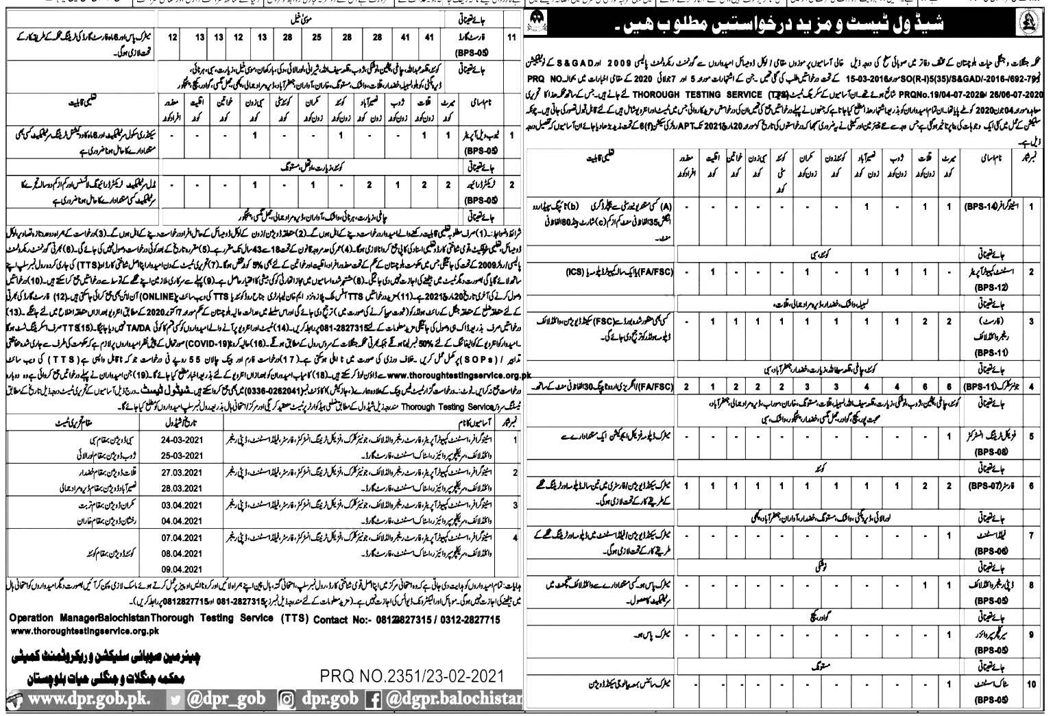 Forest Department Balochistan TTC Jobs 2021 Apply Online Roll Number Slip Merit List