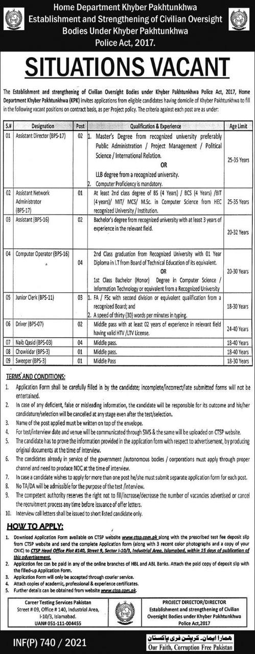 KPK Home Department CTSP Jobs 2021 Application Form Roll No Slips Merit List