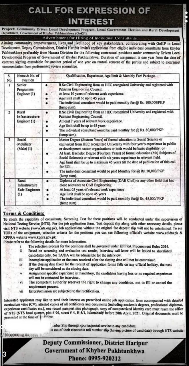 Deputy Commissioner Haripur NTS Jobs 2021 Registration Online Roll No Slip