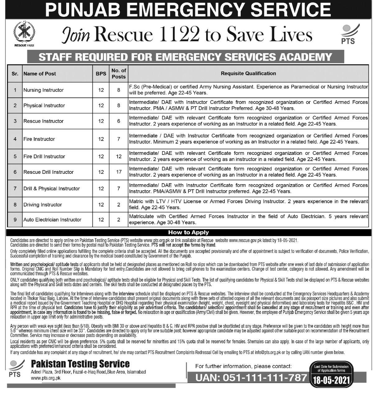 Rescue 1122 jobs 2021 PTS Roll Number Slips Test Schedule