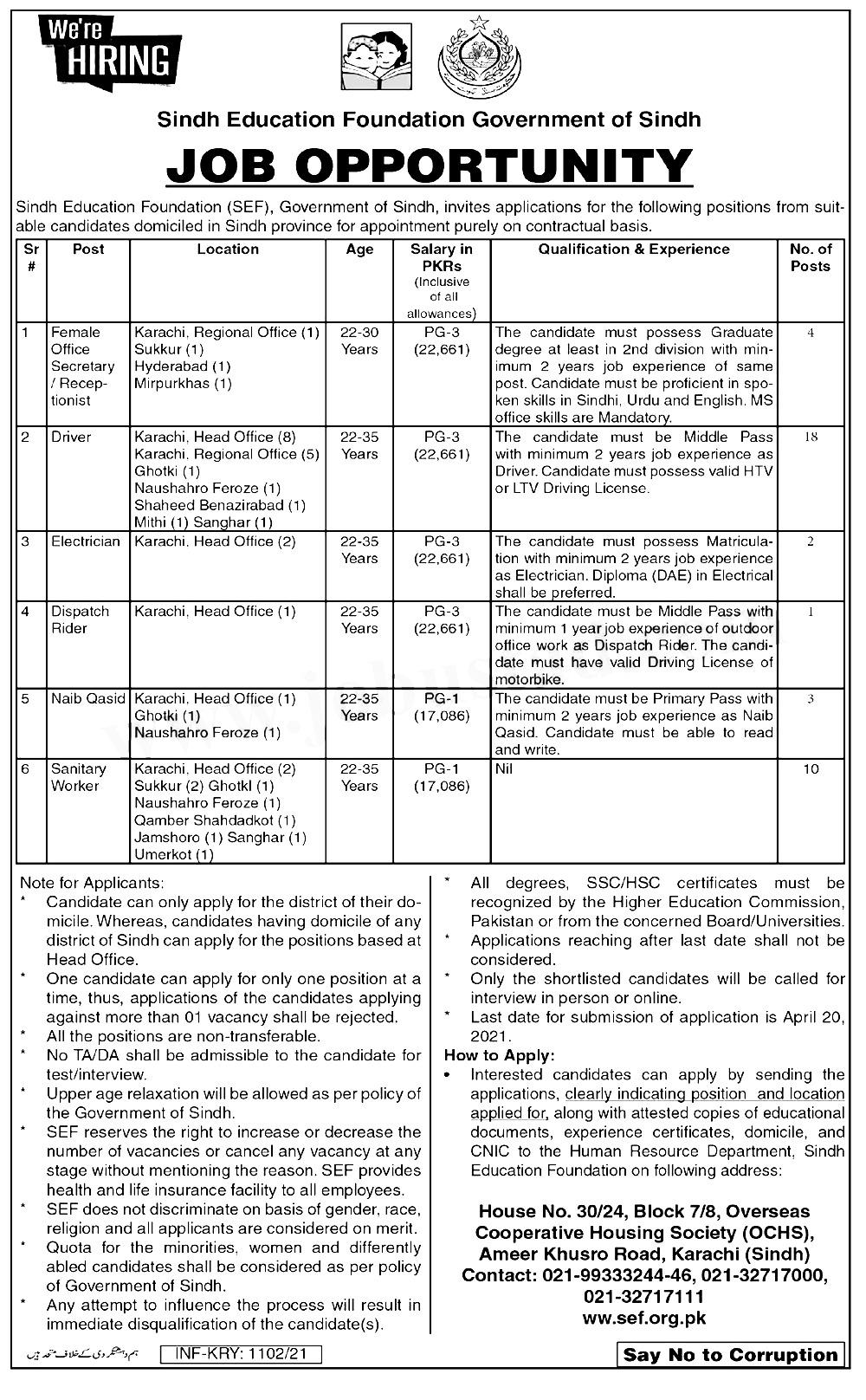 Sindh Education Foundation SEF Jobs 2021 Online Registration Interview Schedule
